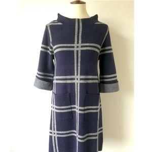 Windowpane Plaid Navy and Ivory Sweater Dress